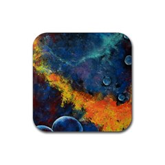Space Balls Rubber Square Coaster (4 Pack)  by timelessartoncanvas