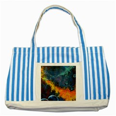 Space Balls Striped Blue Tote Bag by timelessartoncanvas