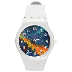 Space Balls Round Plastic Sport Watch (m) by timelessartoncanvas