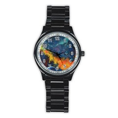 Space Balls Stainless Steel Round Watch by timelessartoncanvas