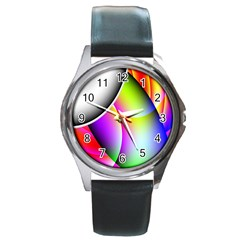 Psychedelic Design Round Metal Watch by timelessartoncanvas