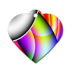 Psychedelic Design Dog Tag Heart (two Sides) by timelessartoncanvas