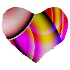 Colorful 1 Large 19  Premium Flano Heart Shape Cushions by timelessartoncanvas