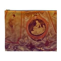 Vintage Ladies Artwork Orange Cosmetic Bag (xl) by BrightVibesDesign