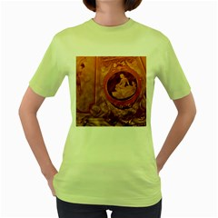 Vintage Ladies Artwork Orange Women s Green T Shirt by BrightVibesDesign
