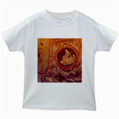 Vintage Ladies Artwork Orange Kids White T-Shirts by BrightVibesDesign