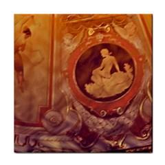 Vintage Ladies Artwork Orange Tile Coasters by BrightVibesDesign