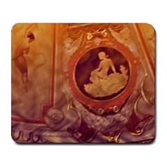 Vintage Ladies Artwork Orange Large Mousepads by BrightVibesDesign
