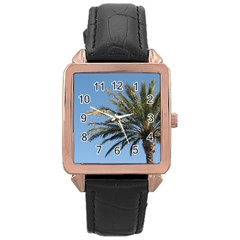 Tropical Palm Tree  Rose Gold Leather Watch  by BrightVibesDesign