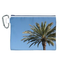 Tropical Palm Tree  Canvas Cosmetic Bag (l) by BrightVibesDesign