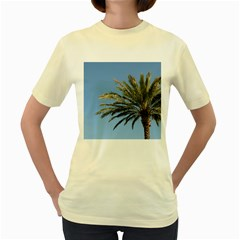Tropical Palm Tree  Women s Yellow T Shirt by BrightVibesDesign