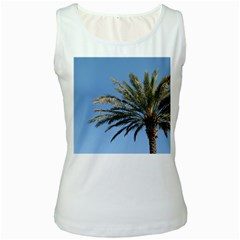 Tropical Palm Tree  Women s White Tank Top by BrightVibesDesign