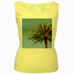 Tropical Palm Tree  Women s Yellow Tank Top by BrightVibesDesign