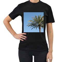 Tropical Palm Tree  Women s T Shirt (black) (two Sided) by BrightVibesDesign