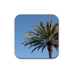 Tropical Palm Tree  Rubber Coaster (square)  by BrightVibesDesign