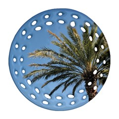 Tropical Palm Tree  Ornament (Round Filigree)  by BrightVibesDesign