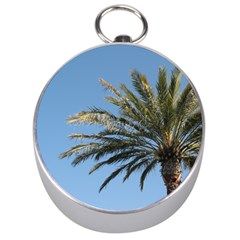 Tropical Palm Tree  Silver Compasses by BrightVibesDesign