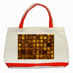 Glossy Tiles, Golden Classic Tote Bag (red) by MoreColorsinLife