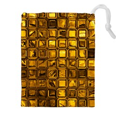 Glossy Tiles, Golden Drawstring Pouches (xxl) by MoreColorsinLife