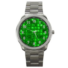 Glossy Tiles,green Sport Metal Watch by MoreColorsinLife