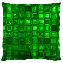 Glossy Tiles,green Large Cushion Case (One Side) by MoreColorsinLife