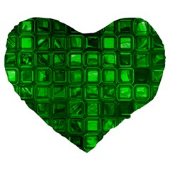 Glossy Tiles,green Large 19  Premium Heart Shape Cushions by MoreColorsinLife