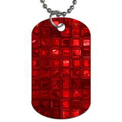 Glossy Tiles,red Dog Tag (two Sides) by MoreColorsinLife