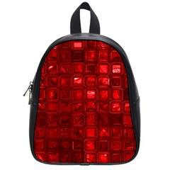 Glossy Tiles,red School Bags (small)  by MoreColorsinLife