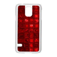 Glossy Tiles,red Samsung Galaxy S5 Case (white) by MoreColorsinLife
