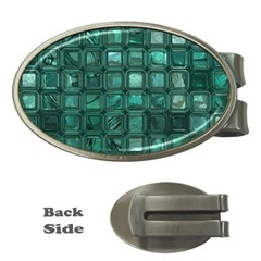 Glossy Tiles,teal Money Clips (oval)  by MoreColorsinLife