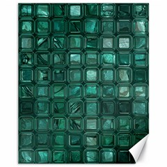 Glossy Tiles,teal Canvas 11  X 14