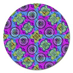 Collage Ornate Geometric Pattern Magnet 5  (round) by dflcprints
