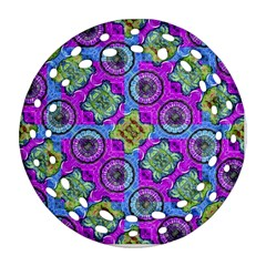 Collage Ornate Geometric Pattern Round Filigree Ornament (2side) by dflcprints