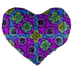Collage Ornate Geometric Pattern Large 19  Premium Heart Shape Cushions by dflcprints