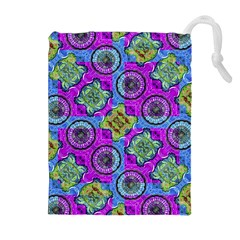 Collage Ornate Geometric Pattern Drawstring Pouches (Extra Large) by dflcprints