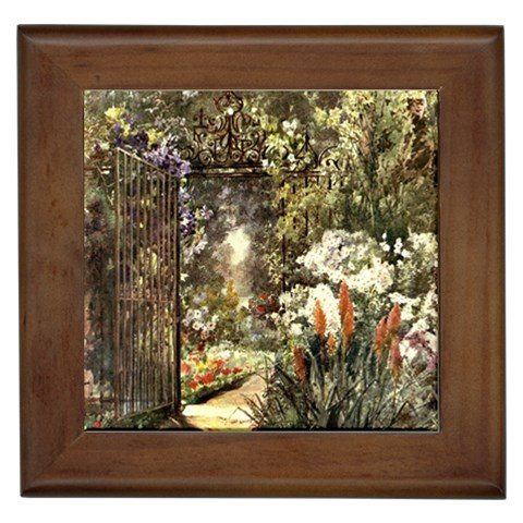 Gated Garden Framed Tile By Michelle Curry   Framed Tile   Ebjjj3485hw4   Www Artscow Com Front
