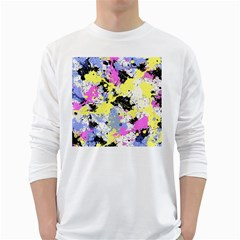 Abstract White Long Sleeve T Shirts by Uniqued