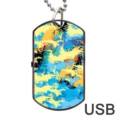 Abstract #4 Dog Tag USB Flash (One Side) by Uniqued