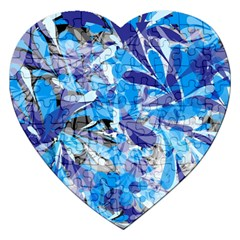 Abstract Floral Jigsaw Puzzle (heart) by Uniqued