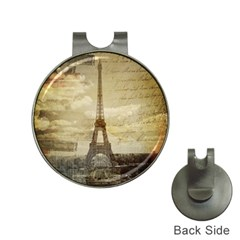 Elegant Vintage Paris Eiffel Tower Art Hat Clip With Golf Ball Marker by chicelegantboutique