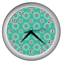 Pink Flowers And Other Shapes Pattern  			wall Clock (silver) by LalyLauraFLM