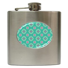 Pink Flowers And Other Shapes Pattern  hip Flask (6 Oz) by LalyLauraFLM
