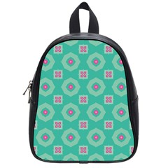Pink Flowers And Other Shapes Pattern  school Bag (small) by LalyLauraFLM