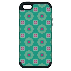 Pink Flowers And Other Shapes Pattern  			apple Iphone 5 Hardshell Case (pc+silicone) by LalyLauraFLM