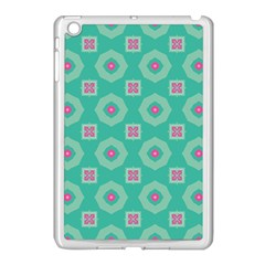 Pink Flowers And Other Shapes Pattern  			apple Ipad Mini Case (white) by LalyLauraFLM