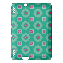 Pink Flowers And Other Shapes Pattern  kindle Fire Hdx Hardshell Case by LalyLauraFLM