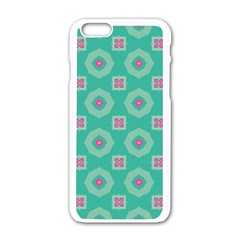 Pink Flowers And Other Shapes Pattern  			apple Iphone 6/6s White Enamel Case by LalyLauraFLM