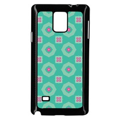 Pink Flowers And Other Shapes Pattern  samsung Galaxy Note 4 Case (black) by LalyLauraFLM