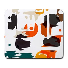 Shapes in retro colors on a white background 			Large Mousepad by LalyLauraFLM