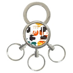 Shapes In Retro Colors On A White Background 3 Ring Key Chain by LalyLauraFLM